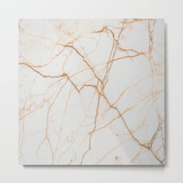 stylish minimalist trendy chic rose gold white marble Metal Print