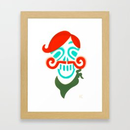 Sir Skull with Mustache  Framed Art Print