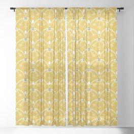 Dots and arcs, sunny yellow Sheer Curtain