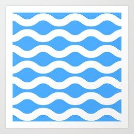 Wavey Lines White & Blue Art Print