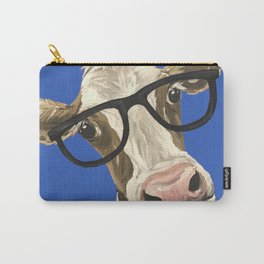 Cute Cow With Glasses, Blue Glasses Cow Carry-All Pouch
