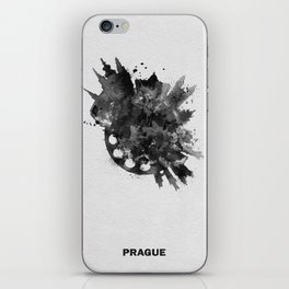 Prague, Czech Republic Black and White Skyround / Skyline Watercolor Painting iPhone Skin