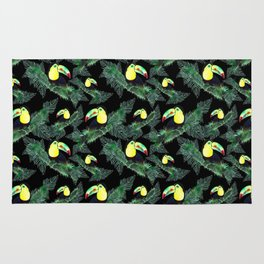 Happy Toucans And Tropical Leaves-Pattern Rug