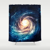erotic Shower Curtains featuring Spiral Galaxy by Zavu