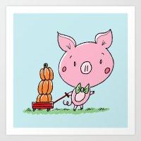 Pumpkin Wagon Piggy Art Print
