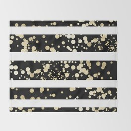 Stylish black and white faux gold confetti stripe Throw Blanket