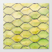 the wire Canvas Prints featuring Chicken Wire by Dawn Patel Art