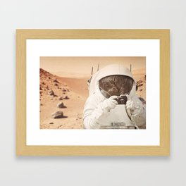 Astronaut Cat on Mars Framed Art Print