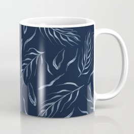 Falling Leaves Indigo Faded Denim Blue Batik Coffee Mug
