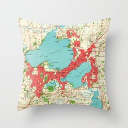 Vintage Map of Madison Wisconsin (1959) Throw Pillow
