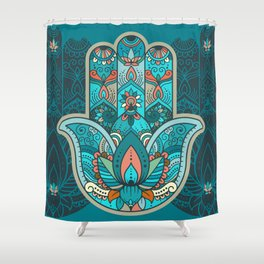 Hamsa Hand of Fatima, good luck charm, protection symbol anti evil eye Shower Curtain