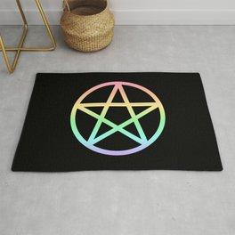 Rainbow Pentacle on Black Rug