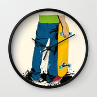 skate Wall Clocks featuring skate by the lazy pigeon