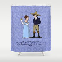 pride and prejudice Shower Curtains featuring Pride and Prejudice and Tacos by mikaelak