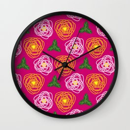 Bright pink floral Wall Clock