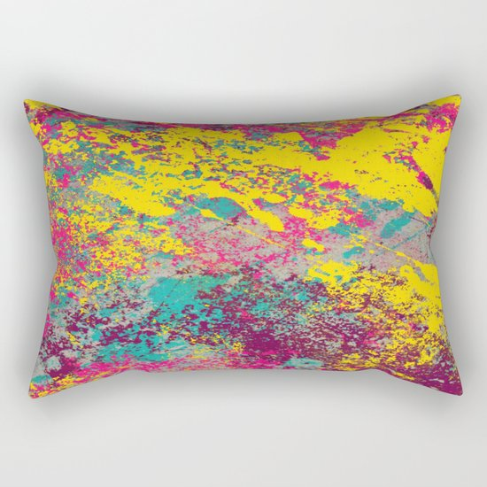 Abstract TexTure Uno - Pink, Purple, Blue And Yellow Rectangular Pillow