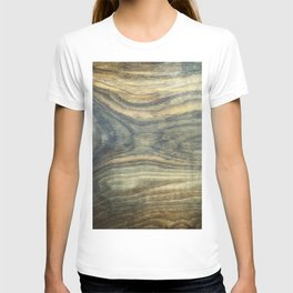 The young boy entrapped inside. Background wooden panel. T-shirt