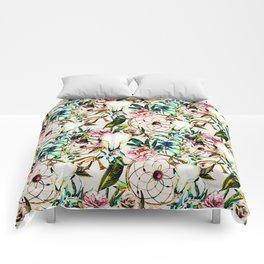 Bohemian Skull Pattern Flowery Vibrant Colors Comforters