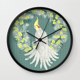 Cockatiel with daisy palm wreath Wall Clock