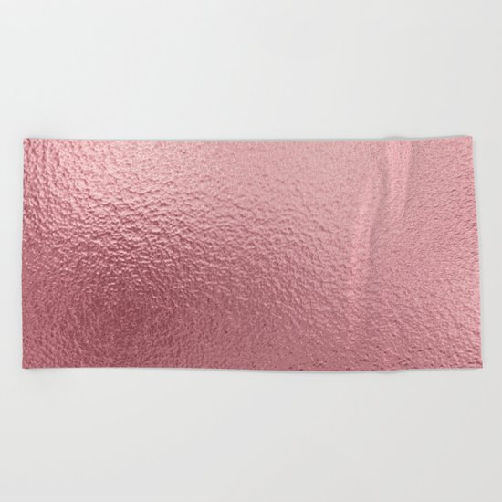 Pure Rose Gold Pink Beach Towel