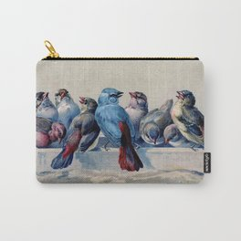 Vintage Blue & Red Winter Songbirds Carry-All Pouch