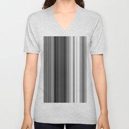 Black White Gray Thin Stripes Unisex V-Neck