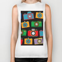 cameras Biker Tanks featuring colourful cameras by vitamin