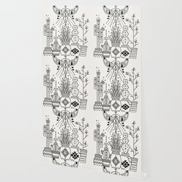 Santa Fe Garden – Black Ink Wallpaper