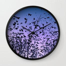 Blue sky birds freedom flight Wall Clock