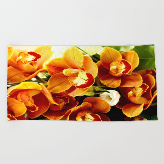 Orchid Corsage Beach Towel
