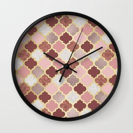 Warm rose gold moroccan Wall Clock