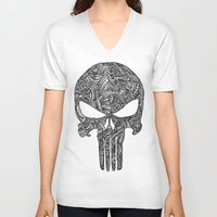 punisher V-neck T-shirts featuring Punisher  by christoph_loves_drawing