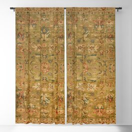 Persian 19th Century Authentic Colorful Muted Green Yellow Blue Vintage Patterns Blackout Curtain