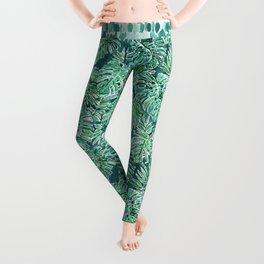 JUNGLE VIBES Green Monstera Watercolor Print Leggings