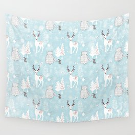 From Mice Bears Deers And Christmas - Cute teal X-Mas Pattern Wall Tapestry