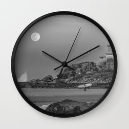 Surf's Over B&W Wall Clock