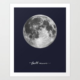 Full Moon on Navy English Art Print