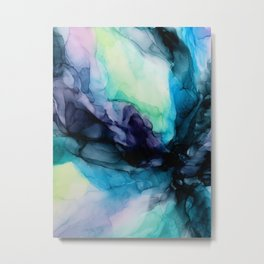 Sweet Pea Pastel Abstract Chaos | Calming Fluid Art Metal Print