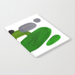 Mid Century Vintage 70's Design Abstract Minimalist Colorful Pop Art Olive Green Dark Green Grey Notebook