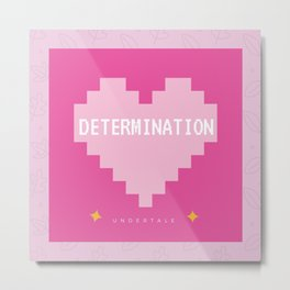 Pink Kawaii Undertale Determination pixel heart Metal Print