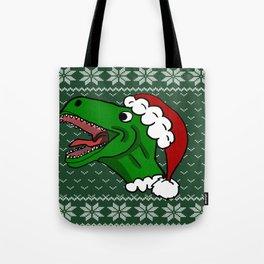 Santa T-Rex Christmas Sweater Tote Bag