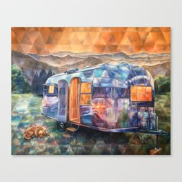 Cozy On Up Airstream Canvas Print