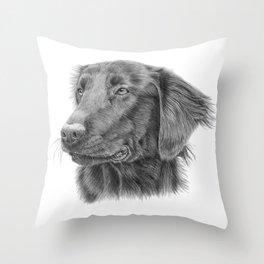 Flatcoated retriever bw Throw Pillow