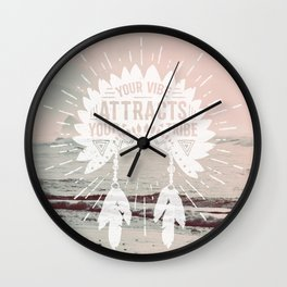 Your Vibe Attracts Your Tribe - Pacific Ocean Wall Clock