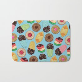 Assorted Cookies on Blue Background Bath Mat