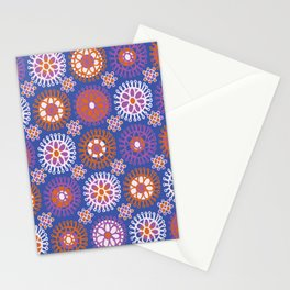 Flower Doodles Cobalt Blue, circles and flowers design Stationery Cards