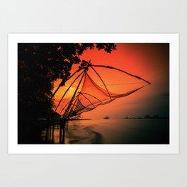 Chinese Fishing Nets, Kerala Art Print