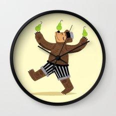 A Bear With Pears Wall Clock