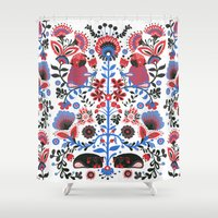 huebucket Shower Curtains featuring The Pug of Folk  by Huebucket