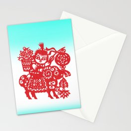 Little Boy on a Goat Stationery Cards